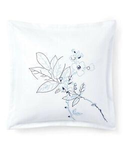 "Ralph Lauren Sandra Embroidered 18"" Square Decorative Pillow Cotton Blue $135 NW"