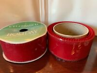 Lot of 2 Michael's Craft Wire Edge Ribbon RED VELVET Scroll Cut Top 2.5in x 10yd