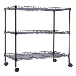 3 Tier Metal Storage Shelves with Wheels Office Rolling Cart Wire Organizer Home