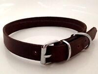 NEW HAND-CRAFTED BROWN SOFT LEATHER DOG COLLAR CAT / TOY DOG XS SMALL TINY