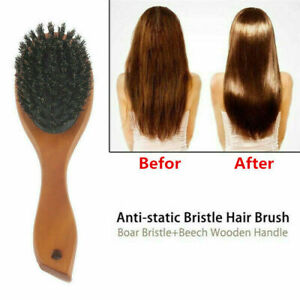 Boar Bristle Brush Comb Anti-static Oval Hairdressing Hair Styly Styling Comb