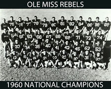Ole Miss Rebels 1960 NCAA FOOTBALL CHAMPIONS, 8x10 B&W Team Photo
