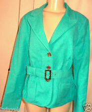 WORTH Cotton Solid Blue Veridian Skinny Twill Belted Jacket size 20 $498 NWT