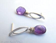 Amethyst Earrings - Solid sterling silver dangle post earrings handmade .925