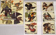 BURKINA FASO 1985 1028-33 Block 111 B Bicent. J.J. Audubon Birds Vögel Fauna MNH