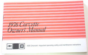 GM 1976 Chevy Corvette Owner's Manual (o) #360273B