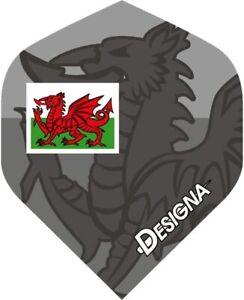 10 x 3 Sets Wales / Welsh Dragon Flag Designa Darts Flights (30) Standard Shape