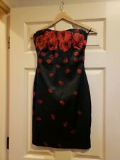 526f42d89a881 NEW BEBE BLACK SATIN STRAPLESS FALLING ROSES ROSE PETALS COCKTAIL DRESS  SMALL