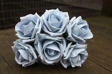 6 x VINTAGE DUSKY FRENCH BLUE COLOURFAST FOAM COTTAGE OPEN ROSES 6cm