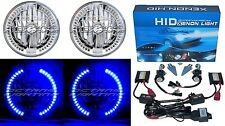 "7"" HID Blue Sc LED Halo Ring Angel Eyes Headlight 6000K 6K Light Lamp Bulbs Pair"