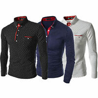 Fashion Men's Casual Long Sleeve Polka Dot T Shirts Slim Fit Business Dress Tops
