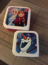 BRAND NEW NEVER USED TWO SQUARE BOXES WITH PICTURES FROM FROZEN ON THE LIDS