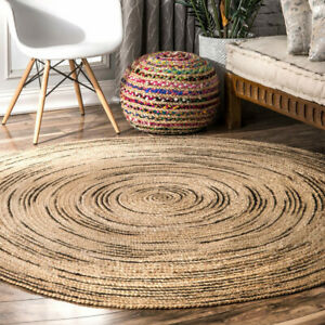 150cm Circular/ Round Handwoven/ Braided Natural Jute Indoor/ Outdoor Rug/ Mat