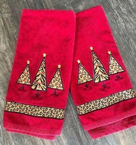 Cheetah Zebra Christmas Tree Modern Red Hand Towel Set of 2 Thick