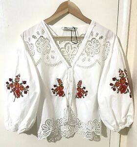 Zara Floral Cotton Embroidered Blouse Top Size US- XS