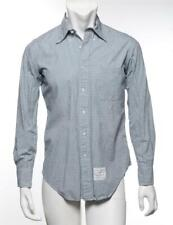 THOM BROWNE Mens Cotton Green Plaid Long Sleeve Button-Up Shirt Casual 2