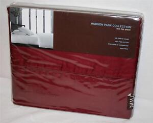 TWIN / XL Flat Sheet Hudson Park 500TC Solid Dark Burgundy Red 100% Pima Cotton