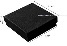"""200 Black Swirl Cotton Filled Jewelry Packaging Gift Boxes 3 1/2"""" x 3 1/2"""" x 1"""""""