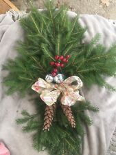 Balsam   Cross Wreath pine cones wood l base made to order fresh cut cemetery