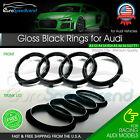 Audi Rings Front Grill & Rear Trunk Emblem Gloss Black Logo A3 A4 S4 A5 S5 A6 S6