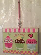 """Shabby Beaded Cupcakes Plaque Ornament Plaque Wall Decor Distressed  3 3/4"""" x 5"""""""