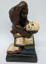 """12"""" Charles Darwin Monkey Statue Chalkware VTG Painted ape skull evolution C1"""
