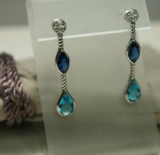 David Yurman 925 Silver Iolite Topaz Pave Diamonds Drop 585 CONFETTI Earrings