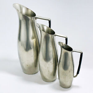 Royal Holland KMD Tiel Pewter Pitcher x 3 Mid Century Modern MCM Wrapped Handle