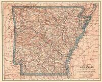 1918 Antique ARKANSAS Map Vintage State Map of Arkansas Gallery Wall Art #5597