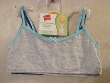NWT Girls HANES L Grey Blue Crop Top Pullover Cotton Spandex Training Bra~2 Bras