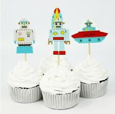 24 pcs Cupcake Cup Cake Decorating,Toppers PARTY DECORATION , Robot , Space ship