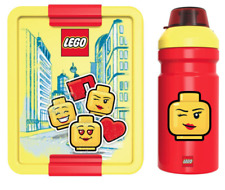 Lego Girl 4052 Iconic Lunch Box & Water Bottle - Red and Yellow - New