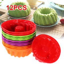 12Pcs Silicone Cake Muffin Mold Chocolate Cupcake Bakeware Baking Cup Mould DIY