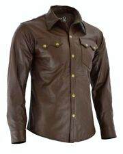 Men's Soft Brown Leather Slim Fit Full Sleeve Button up Shirt Jacket for Men