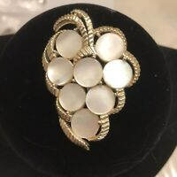 Mother Of Pearl Bunch Of Grapes Pin Brooch Gold Tone Small Disk Size 2X2 Vinta
