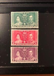 Stamps Canada Newfoundland Sc230 - Sc232 Coronation issue  see description