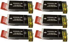 6x Cartouche d'encre imprimante noir compatible avec Canon PGI-555 BK XXL MX925