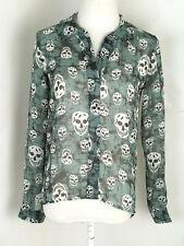 Vintage Havana Skull Blouse Women Shirt Size Small Sheer Gray-Black Tie-Dye