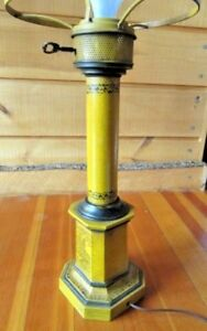 VINTAGE PEDESTAL TABLE LAMP YELLOW PAINTED BLACK DECORATION GLASS DOME