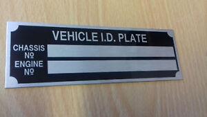 Car Motorbike Caravan Trailer Vehicle ID plant ramp van BLANK-VIN-CHASSIS-PLATES