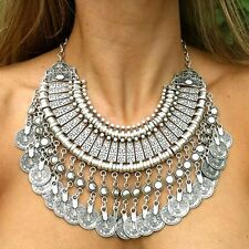 Vintage Necklace Choker Coin Tassels Hippie Boho Bohemian Festival Gypsy Jewelry