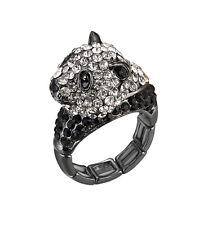 Cute Cuddly Fashion Panda Bear Animal Zoo Black White Clear Crystal Stretch Ring