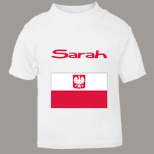 Personalised Polish Flag Your Childs Name T Shirt for kids Named Tee Poland