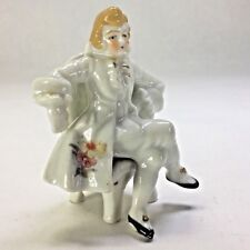French Rococo Style Man Sitting on a Chair Figurine Vintage