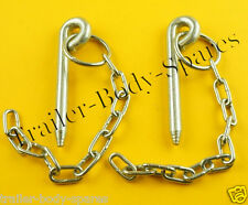 FREE UK Post - 2 x 10mm Cotter Pin & Chain - Trailers and Horse Box  #AJD