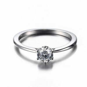 AAA Graded Cubic Zirconia Solitaire Wedding Ring Sterling Solid 10K Yellow Gold