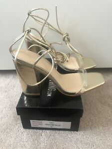 Pretty Little Thing Gold Clear Strap Ankle Tie Block Heel Strappy Sandal Size 6