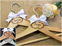 Personalised Engraved White Wooden Wedding Dress Gift Hangers Bridal Bridesmaid