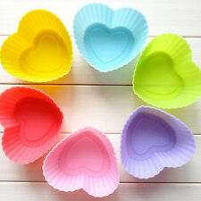 12pcs Heart Soft Silicone Cake Muffin Chocolate Cupcake Liner Baking Cup Mold FX