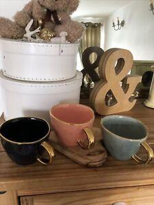 John Lewis 3 x 400ml Artisan Gold Rim Mugs. New